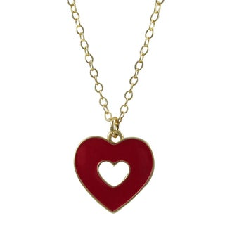 Gold Finish Red Enamel Cutout Heart Pendant Necklace