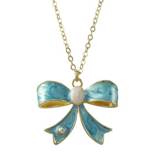 Luxiro Gold Finish Crystal and Marbled Enamel Bow Pendant Necklace