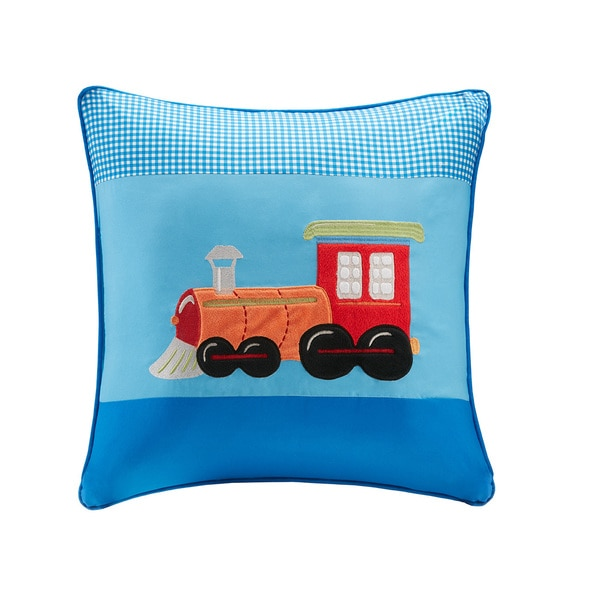Mi Zone Kids Truck Zone Plush Train Applique and Printed Square Pillow