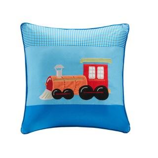 Mi Zone Kids Truck Zone Plush Train Applique and Printed Square Pillow