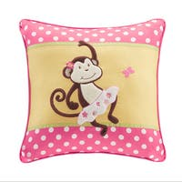 Mi Zone Kids Monkey Madness Plush Monkey Applique and Printed Square Pillow