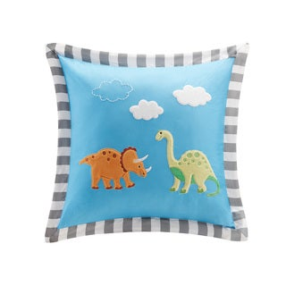 Mi Zone Kids Daring Dino Plush Dinosaur Applique Square Pillow