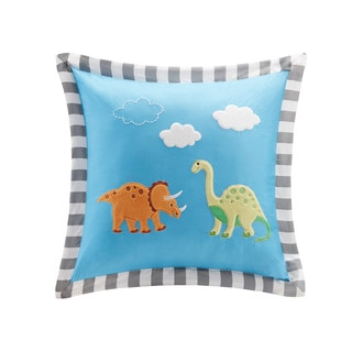 Mi Zone Kids Daring Dino Plush Dinosaur Applique Square Pillow
