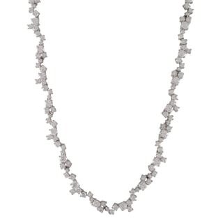 Luxiro Sterling Silver White Cubic Zirconia Cluster Tennis Necklace