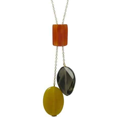Luxiro Gold Finish Carnelian and Jade Semi-precious Gemstone Necklace - Brown