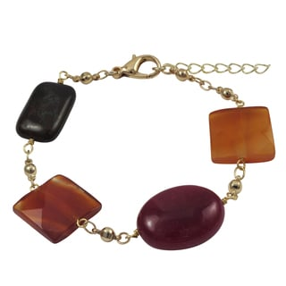 Luxiro Gold Finish Carnelian, Jade and Jasper Semi-precious Gemstone Bracelet