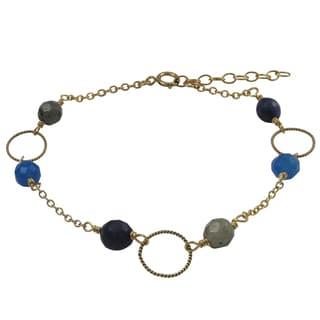 Luxiro Gold Filled Blue Semi-precious Gemstone Children's Bracelet