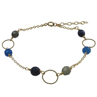 Luxiro Gold Filled Blue Semi-precious Gemstone Children's Bracelet