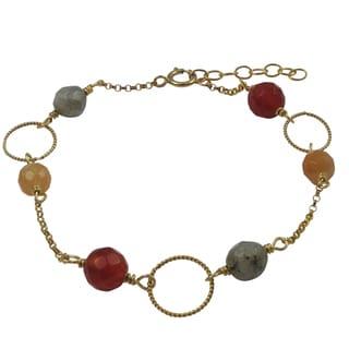 Luxiro Gold Filled Red Semi-precious Gemstone Children's Bracelet