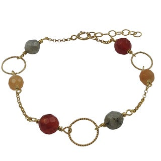 Luxiro Gold Filled Red Semi-precious Gemstone Children's Bracelet