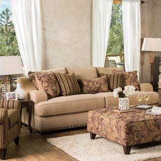 Furniture Of America Sie Transitional Tan Microfiber Sofa