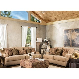 Furniture of America Shellie Transitional 2-piece Tan Fabric Sofa Set