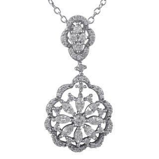 Luxiro Sterling Silver Gold Finish Cubic Zirconia Scalloped Floral Pendant Necklace