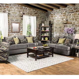 Furniture of America Avnet Contemporary 2-piece Olive Grey Fabric Sofa Set