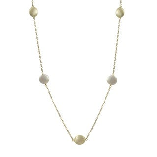 Luxiro Brushed Gold Finish Freshwater Pearl Coin Necklace