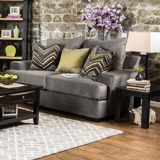 Furniture of America Avnet Contemporary Olive Grey Fabric Loveseat