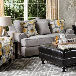 Furniture of America Audellie Contemporary Grey Fabric Loveseat