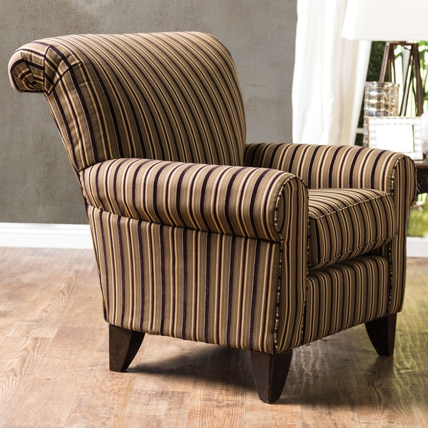 Navy Highback Accent Chair With White Stripe: Shop Furniture Of America Mima Transitional Brown Fabric