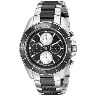 Michael Kors Men's MK8454 JetMaster Chronograph Black Dial Two-Tone Bracelet Watch
