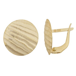 Fremada 14k Yellow Gold Ribbed Satin Disc Omega Back Earrings