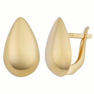 Fremada 14k Yellow Gold Pear-shaped Omega Back Earrings