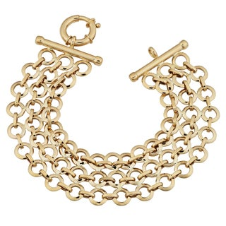 Fremada 14k Yellow Gold Three-row Circles Link Bracelet (8.25 inches)