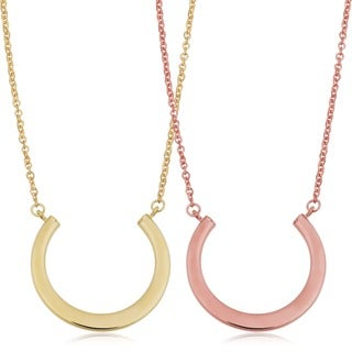 Fremada 14k Yellow Gold High Polish Half Circle Adjustable Length Necklace (18 inches)