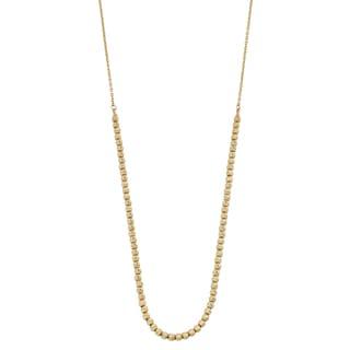 Fremada 14k Yellow Gold Diamond-cut Bead Necklace (17 inches)