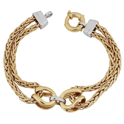 Fremada 14k Two-tone Gold Double Wheat Chain Bracelet (7.5 inches)