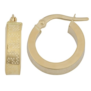 Fremada 18k Yellow Gold 4x10-mm Greek Key Design Hoop Earrings