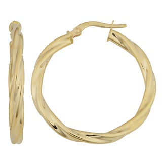Fremada 18k Yellow Gold 3x25-mm Twisted Hoop Earrings
