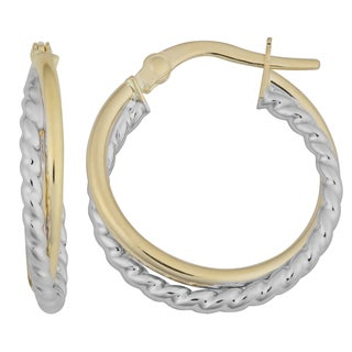 Fremada 18k Two-tone Gold Double Hoop Earrings