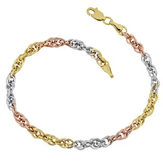 Fremada 10k Tricolor Gold Double Cable Link Bracelet (7.25 inches)
