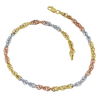 Fremada 10k Tri-color Gold Double Cable Link Anklet (10 inches)