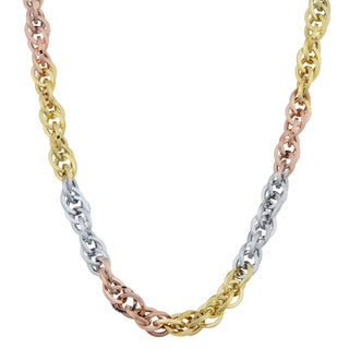 Fremada 10k Tri-color Gold Double Cable Link Necklace