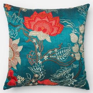 Embroidered Floral Blue/ Red Down Feather or Polyester Filled 22-inch Throw Pillow or Pillow Cover