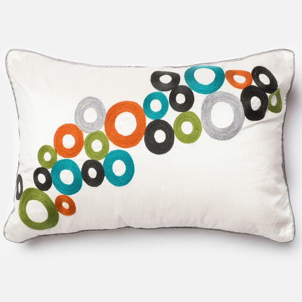 Embroidered Modern Circle Multi 13 X 21 Throw Pillow Or Pillow Cover Overstock 11079025