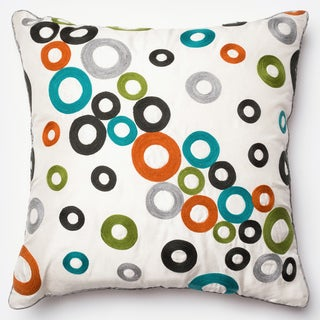 Embroidered Modern Circle Mullti 22-inch Down Feather or Polyester Filled or Pillow Cover