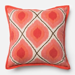 Printed Bohemian Coral/ Pink 18-inch Down Feather or Polyester Filled Throw Pillow or Pillow Cover