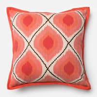 Printed Bohemian Coral/ Pink Throw Pillow or Pillow Cover 18 x 18