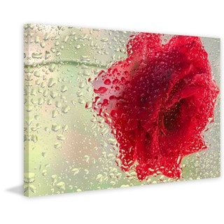 Marmont Hill - Red Rose in a Light Rain Painting Print on Canvas