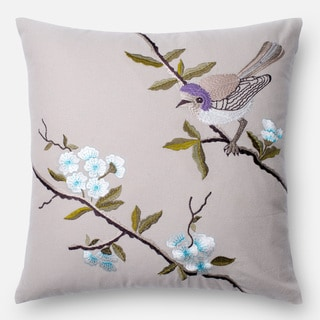 Embroidered Song Bird Beige/ Lavender 18-inch Down Feather or Polyester Filled or Pillow Cover