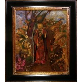 Odilon Redon 'Buddha Walking Among The Flowers' Hand Painted Framed Canvas Art