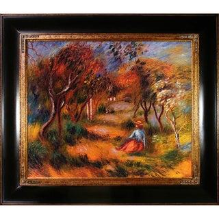 Pierre-Auguste Renoir 'Le Jardin de la Poste, Cagnes, 1906' Hand-painted Framed Canvas Art