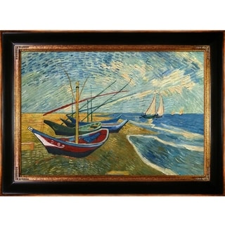 Vincent Van Gogh 'Fishing Boats on the Beach at Saintes-Maries' Hand-painted Framed Canvas Art