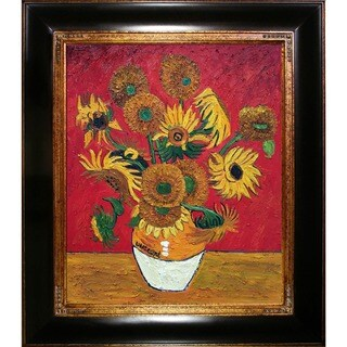 La Pastiche Original 'Sunflowers, Red' Hand-painted Framed Canvas Art