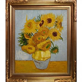 Vincent Van Gogh 'Sunflowers' Hand-painted Framed Canvas Art