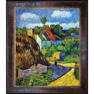 Vincent Van Gogh 'Houses in Auvers 2' Hand-painted Framed Canvas Art