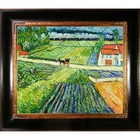 Vincent Van Gogh 'Landscape with Carriage and Train' Hand-painted Framed Canvas Art