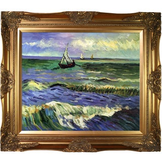 Vincent Van Gogh 'Seascape at Saintes Maries' Hand-painted Framed Canvas Art